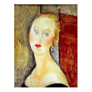 retrato de Germana Survage de Amedeo Modigliani Postal