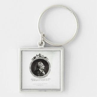 Retrato de Giacomo Casanova, edad 63 del medallón Llavero Cuadrado Plateado