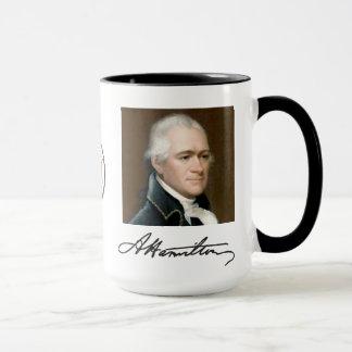 Retrato de Hamilton y taza de los hechos