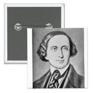 Retrato de Hans Christian Andersen 2 Chapa Cuadrada 5 Cm