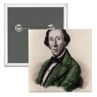 Retrato de Hans Christian Andersen Chapa Cuadrada 5 Cm