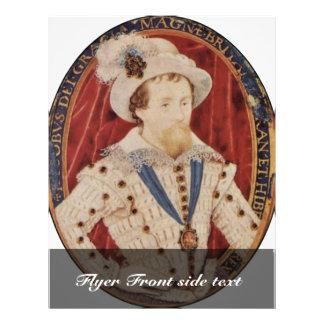 Retrato de James I, rey del óvalo de Inglaterra po Tarjeta Publicitaria