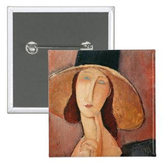 Retrato de Jeanne Hebuterne en un gorra grande Pins