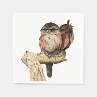 Retrato de la acuarela de los hermanos del búho servilletas desechables
