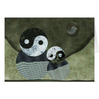 Retrato de la familia para el día de padre tarjeta de felicitación