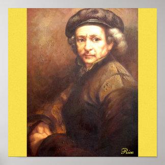 Retrato de la impresión de Rembrandt en lona