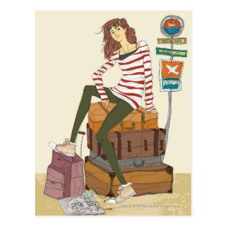 Retrato de la mujer joven que se sienta en la postal