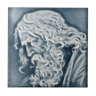 Retrato de la reproducción antigua de la teja de