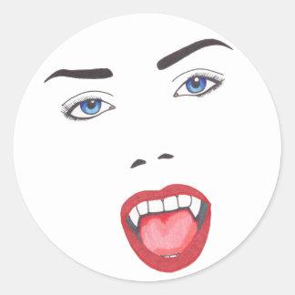 Retrato de la silueta del vampiro pegatina redonda