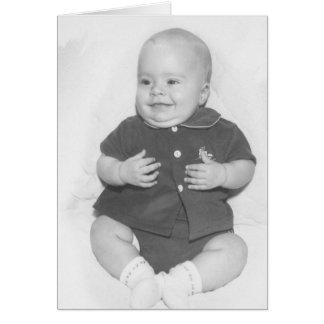 retrato de los años 50 del bebé tarjeta de felicitación