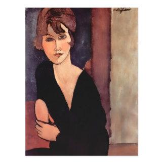 Retrato de Modigliani de señora Reynouard Postal