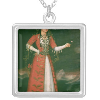 Retrato de Nino Eristavi, iraní, 1829 Collar Plateado