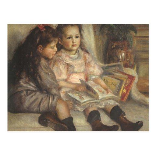 Retrato de niños, impresionismo del vintage de tarjeta postal
