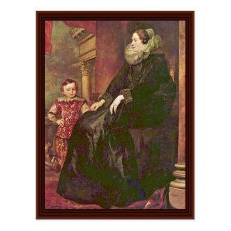 Retrato de Paolina Adorno Por Dyck Anthonis Van Tarjeta Postal