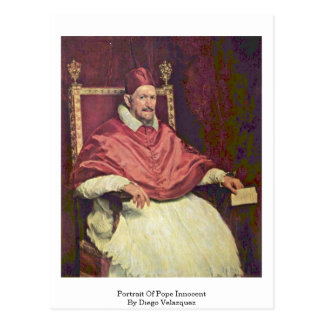 Retrato de papa Innocent By Diego Velázquez Postal