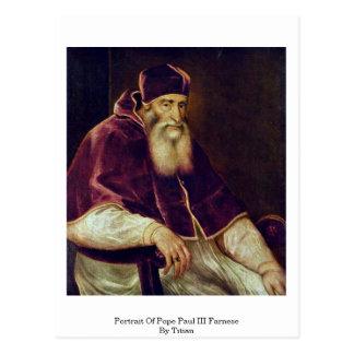 Retrato de papa Paul Iii. Farnese por Titian Postal