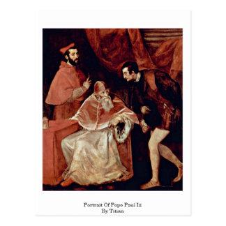 Retrato de papa Paul Iii por Titian Postal