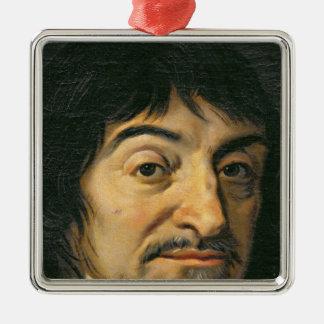 Retrato de Rene Descartes c.1649 Adorno Cuadrado Plateado