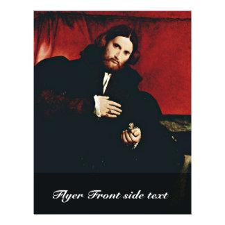 Retrato de un caballero con una pata de los leones tarjetas publicitarias
