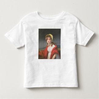 Retrato de un chica que lleva un mantón rojo camisetas