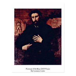 Retrato de un hombre de 37 años de Lorenzo Lotto Postal