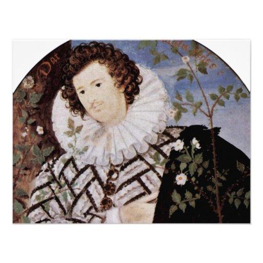 Retrato de un hombre joven bajo detalle del óvalo  invitaciones personalizada