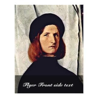 Retrato de un hombre joven con la lámpara por la l folleto 21,6 x 28 cm