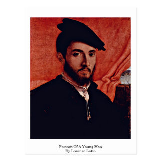 Retrato de un hombre joven de Lorenzo Lotto Postal
