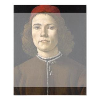 Retrato de un hombre joven por Botticelli Tarjetas Informativas