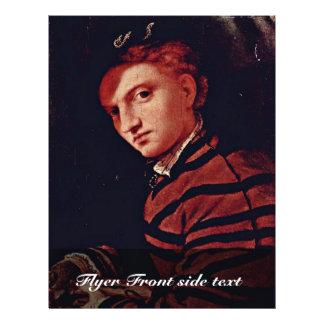 Retrato de un muchacho con el libro por la loteria folleto 21,6 x 28 cm