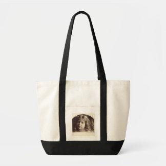Retrato de una chica joven (impresión del albumen  bolsa tela impulso