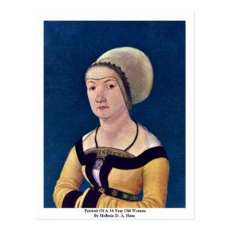Retrato de una mujer de 34 años tarjeta postal