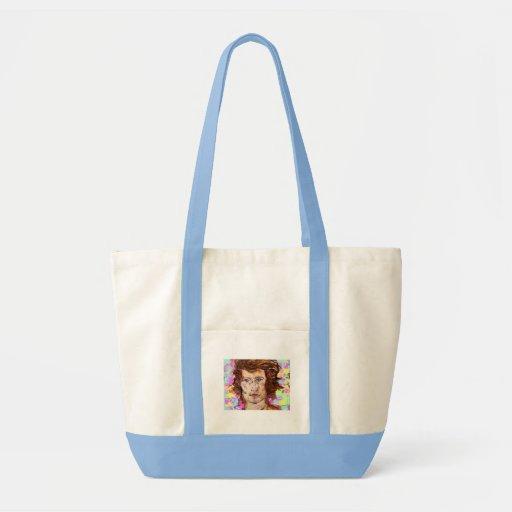 retrato de una mujer joven bolsas de mano