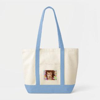 retrato de una mujer joven bolsa tela impulso