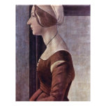Retrato de una mujer joven de Botticelli Sandro Tarjetas Informativas