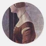 Retrato de una mujer joven de Botticelli Sandro Pegatina Redonda