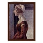 Retrato de una mujer joven de Botticelli Sandro Tarjetón