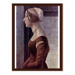 Retrato de una mujer joven de Botticelli Sandro Tarjetas Postales