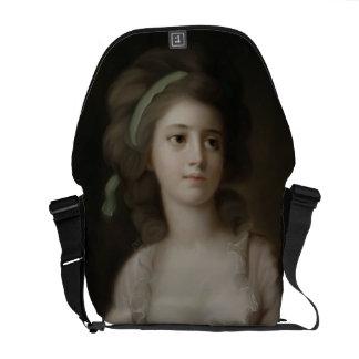 Retrato de una señora joven (en colores pastel en  bolsas messenger