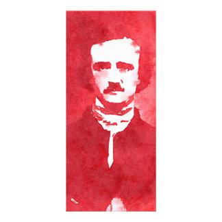 Retrato del arte pop de Edgar Allan Poe en rojo Tarjeta Publicitaria A Todo Color