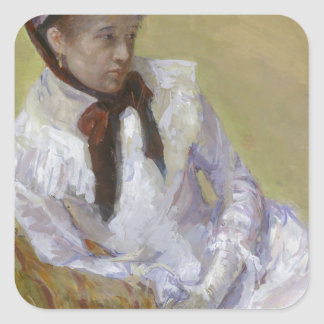 Retrato del artista - Mary Cassatt Pegatina Cuadrada