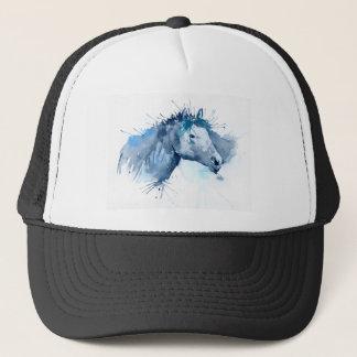 Retrato del caballo de la acuarela gorra de camionero