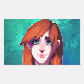 Retrato del chica pegatina rectangular