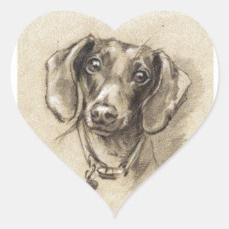 Retrato del Dachshund Pegatina En Forma De Corazón