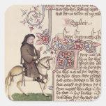 Retrato del facsímil de Geoffrey Chaucer de Calcomania Cuadradas Personalizadas