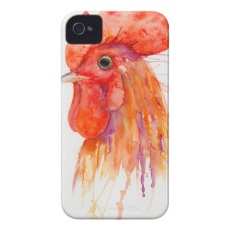 Retrato del gallo de la acuarela de oro carcasa para iPhone 4 de Case-Mate