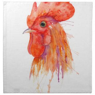 Retrato del gallo de la acuarela de oro servilleta de tela
