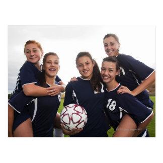 retrato del grupo de los jugadores de fútbol adole tarjeta postal