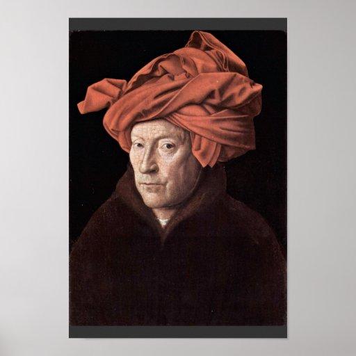 Retrato del hombre con el turbante, por Eyck enero Posters