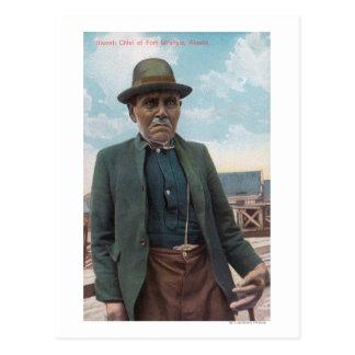 Retrato del jefe de Siwash de la disputa del Tarjeta Postal
